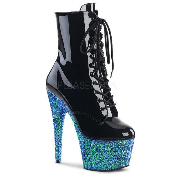 Stiefelette mit Schnürung schwarz Lack mit blauem Multi Glitter Plateau Adore-1020LG